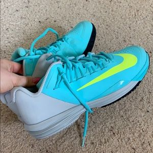 Teal and grey women's Nike basketball shoes
